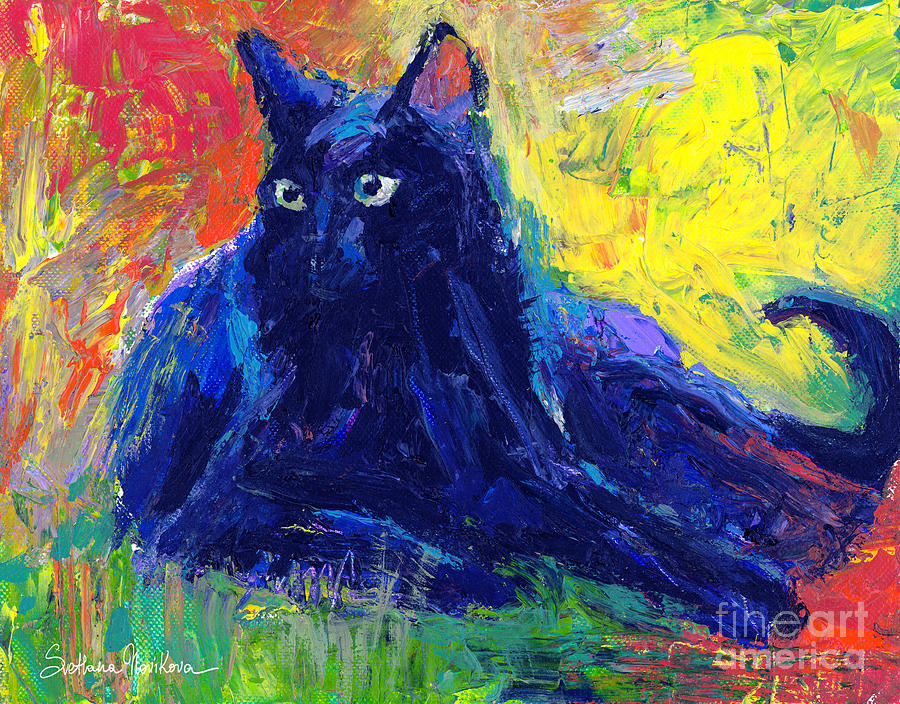 Impasto Black Cat Painting Painting  - Impasto Black Cat Painting Fine Art Print