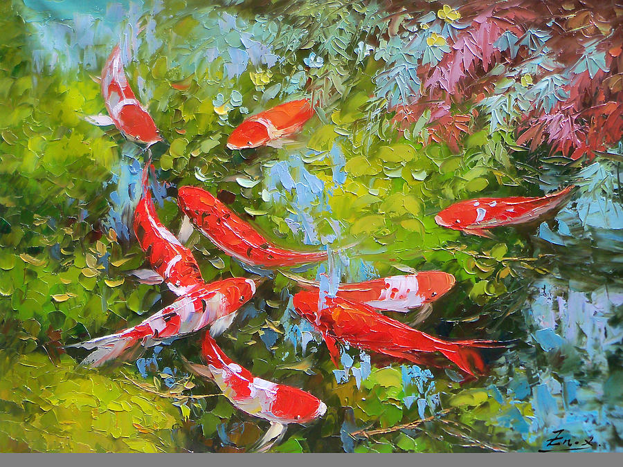 Impasto oil painting koi fish painting by enxu zhou for Koi fish canvas art