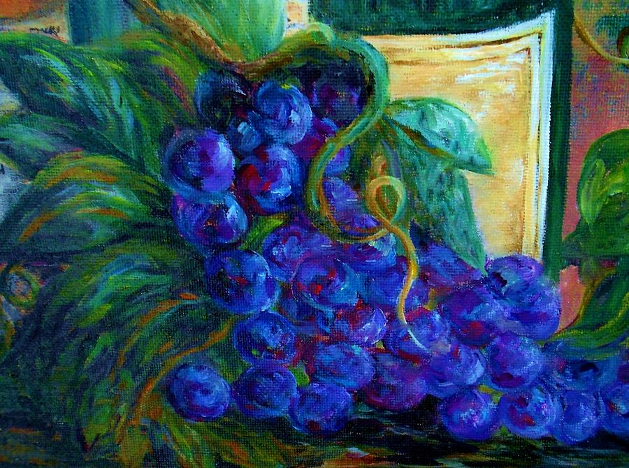 Impressionist Grapes And Wine Painting  - Impressionist Grapes And Wine Fine Art Print