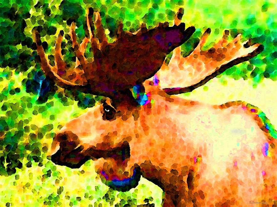 Impressionist Moose - Pop Art By Sharon Cummings Painting