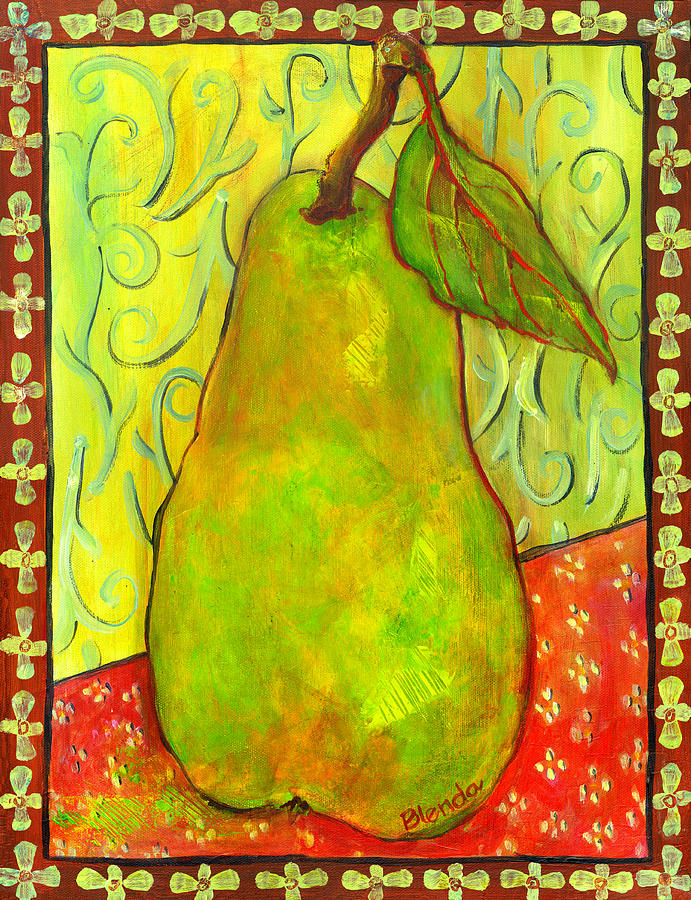 Food Painting - Impressionist Style Pear by Blenda Studio