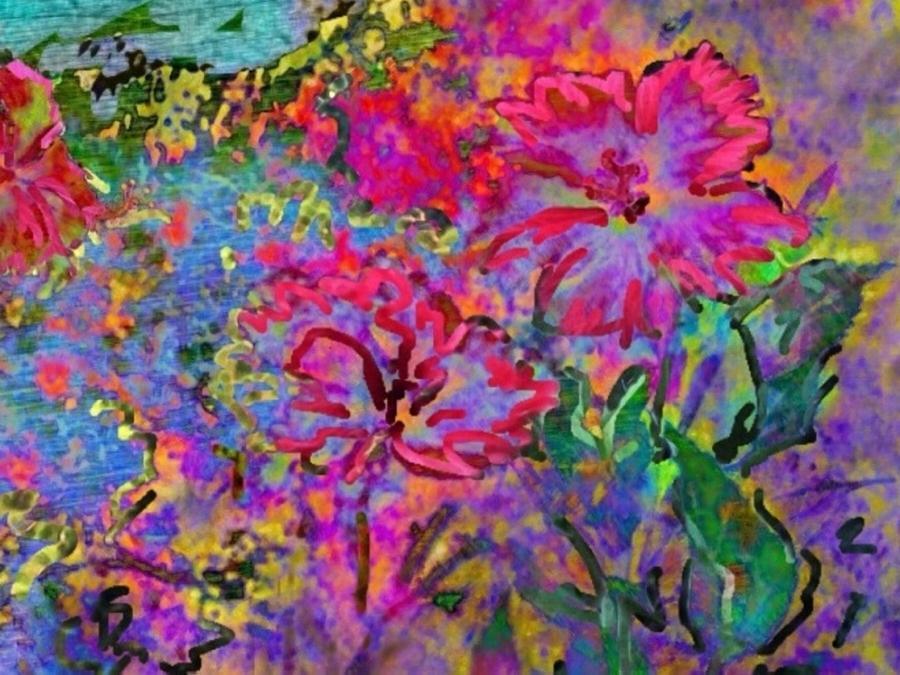 Sharkcrossing Digital Art - Impressionistic Magenta Hibiscus - Horizontal by Lyn Voytershark