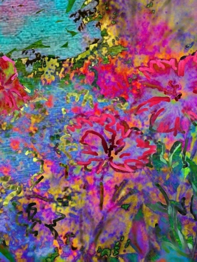 Impressionistic Magenta Hibiscus - Vertical Digital Art