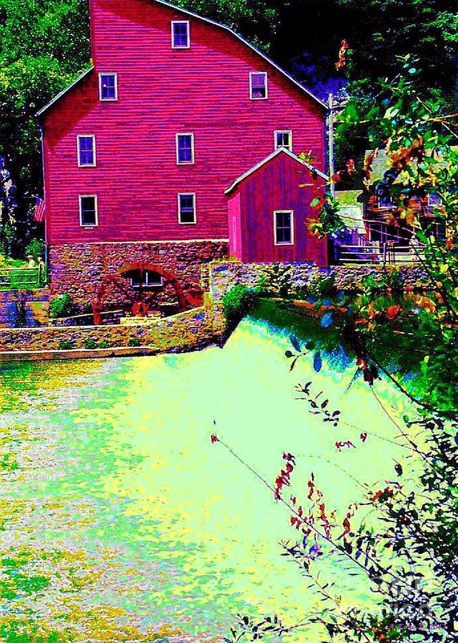 Impressionistic Red Grist Mill Photograph  - Impressionistic Red Grist Mill Fine Art Print