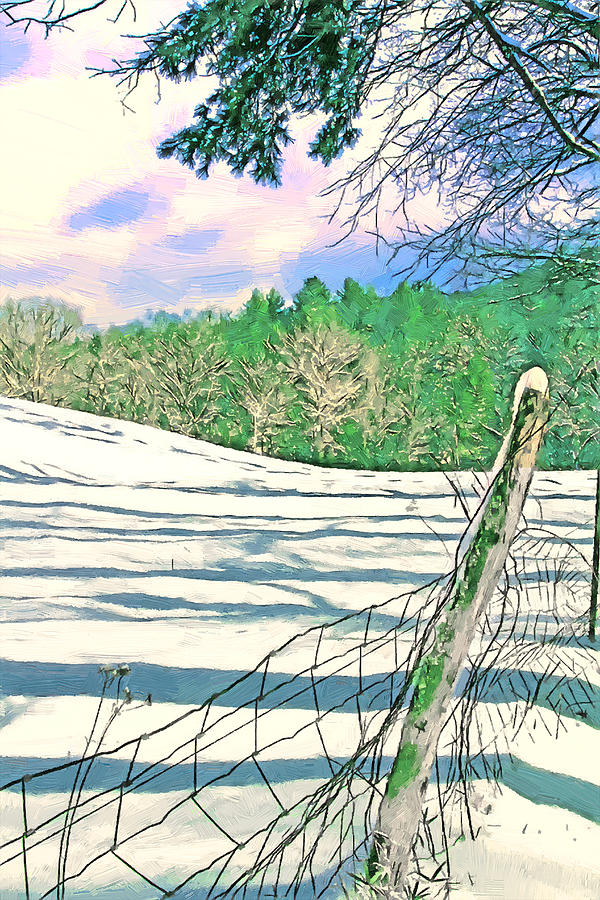 Photo Painting - Impressions Of A Snow Covered Farm by John Haldane