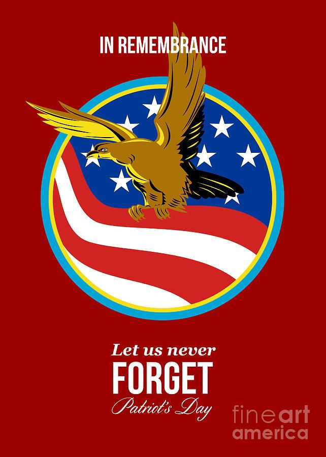 In Remembrance Patriots Day Retro Poster Digital Art
