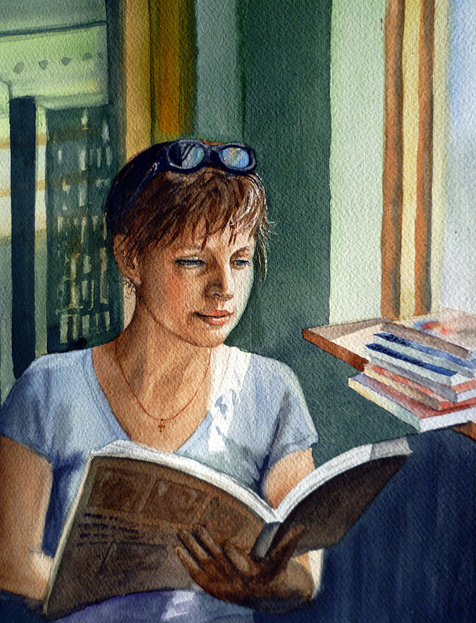 In The Book Store Painting  - In The Book Store Fine Art Print