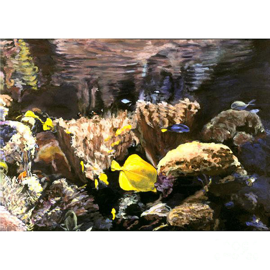 in the deep vi an original aquarium view painting by. Black Bedroom Furniture Sets. Home Design Ideas