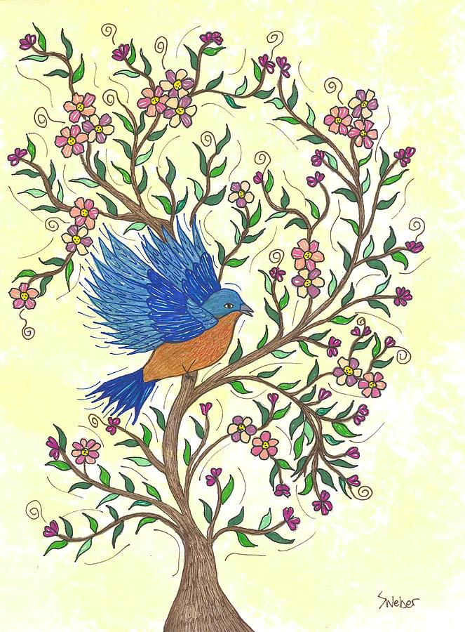 In The Garden - Bluebird Painting