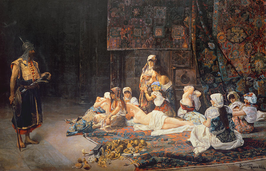 Au Serail Painting - In The Harem by Jose Gallegos Arnosa