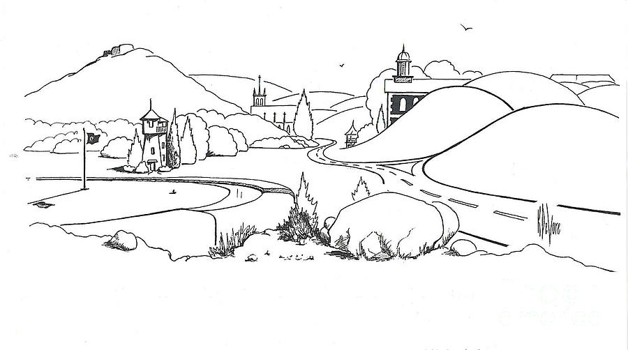 In The Land Of Brigadoon  Drawing  - In The Land Of Brigadoon  Fine Art Print
