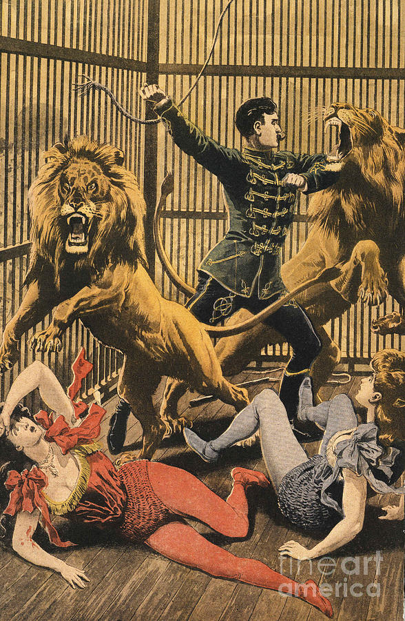 In The Lion�s Cage 1910s Uk Lion Tamers Drawing  - In The Lion�s Cage 1910s Uk Lion Tamers Fine Art Print