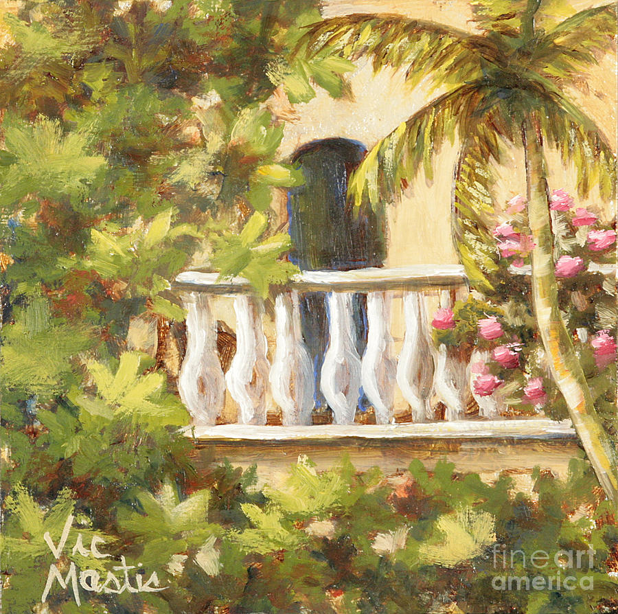 In The Oasis With Gold Leaf By Vic Mastis Painting