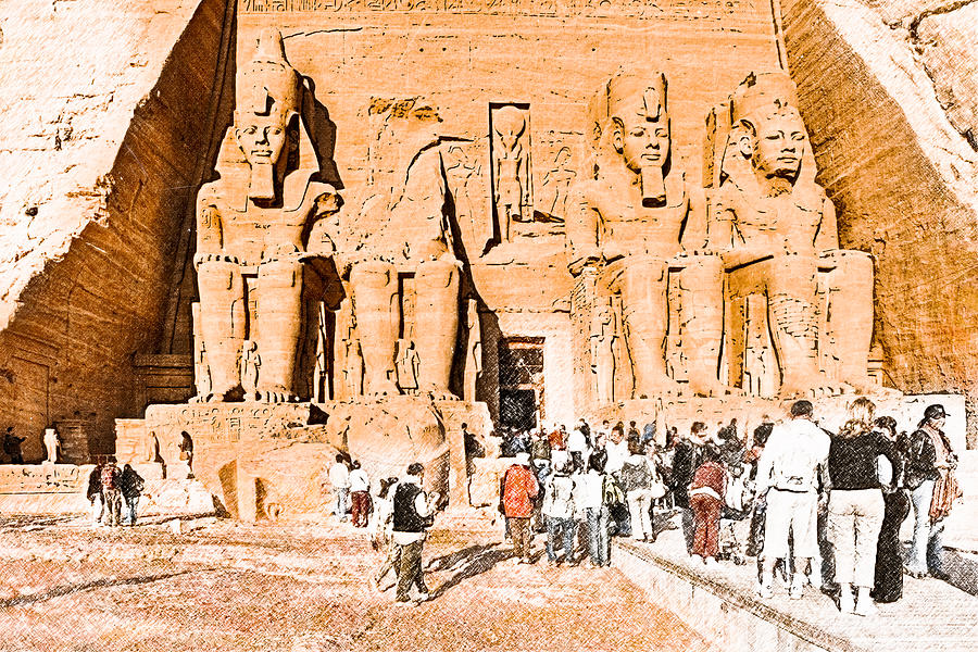 In The Presence Of Ramses II At Abu Simbel Photograph  - In The Presence Of Ramses II At Abu Simbel Fine Art Print