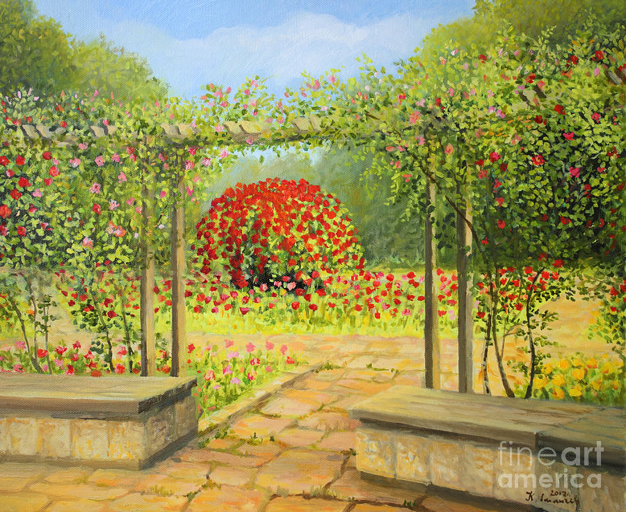 In The Rose Garden Painting