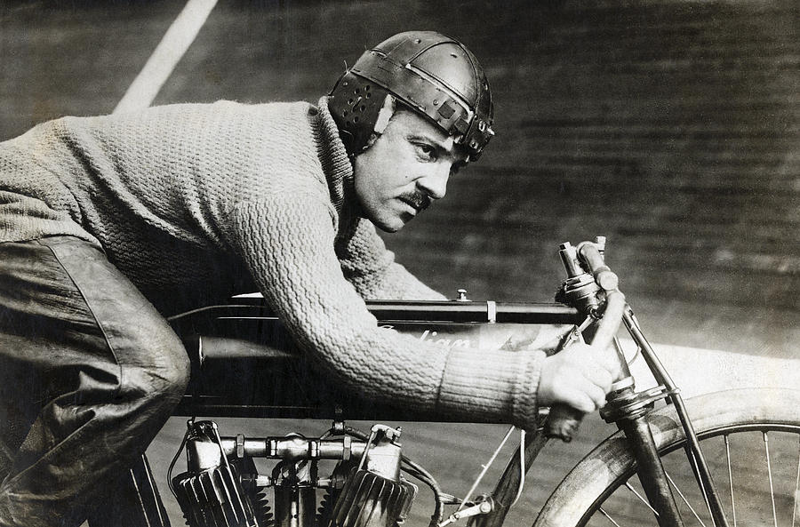 In The Wind On An Indian Motorcycle - 1913 Photograph
