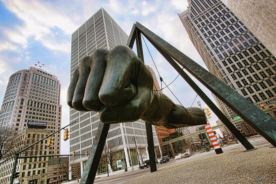 In Your Face -  Joe Louis Fist Statue - Detroit Michigan Photograph