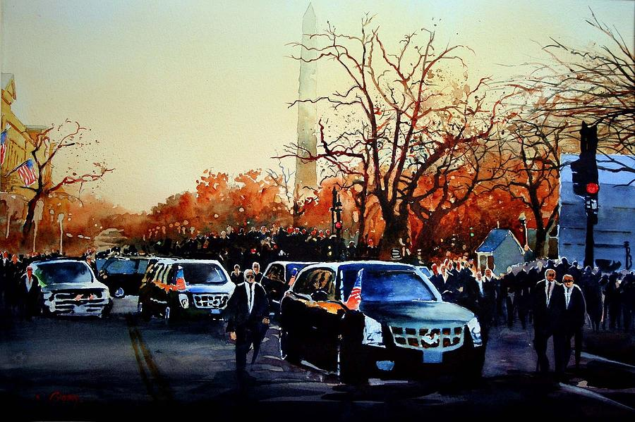 Presidential Inaugural Parade In Washington Dc -president Barrack Obama On Pennsylvania Ave Painting - Inaugural by Ron Bigony
