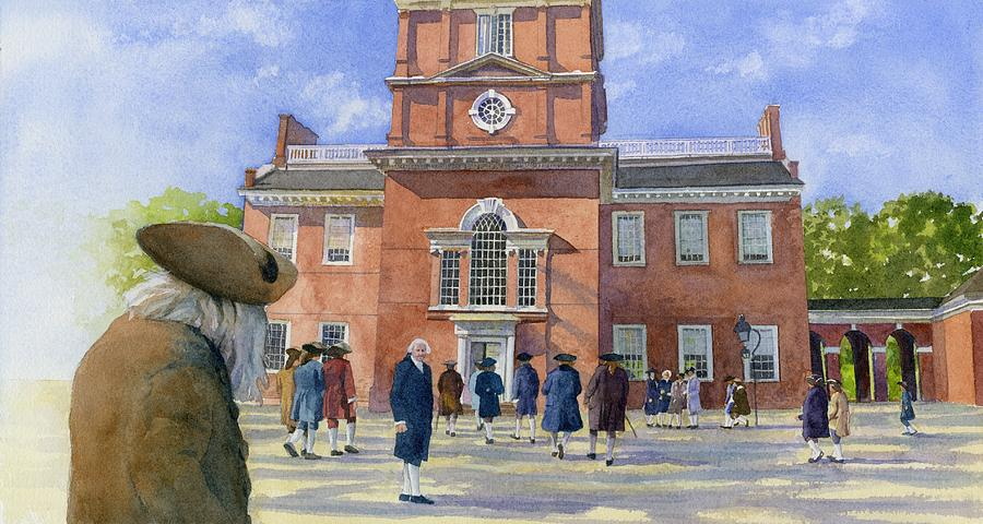 Independence Hall And Delegates Painting