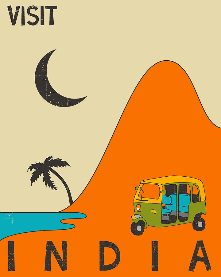 India Travel Poster Digital Art  - India Travel Poster Fine Art Print