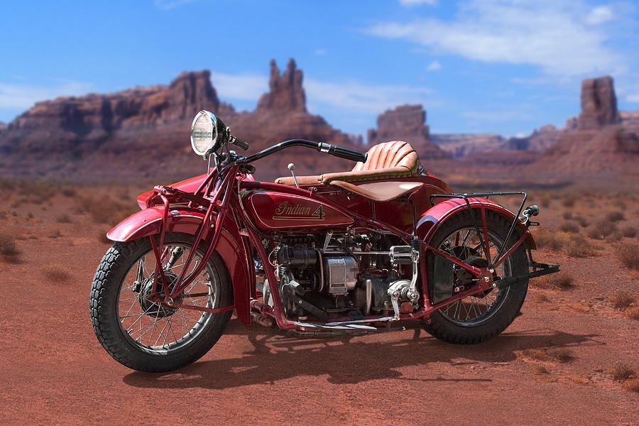 Indian Motorcycle Photograph - Indian 4 Sidecar 2 by Mike McGlothlen