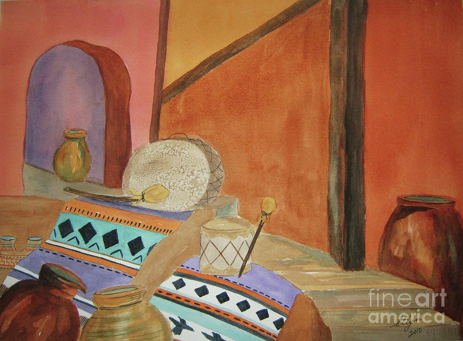 Still Life Painting - Indian Blankets Jars And Drums by Ellen Levinson