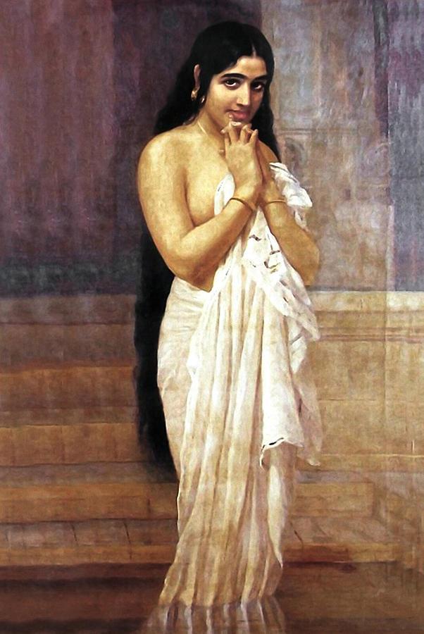 Indian Girl After Bath Digital Art By Raja Ravi Varma