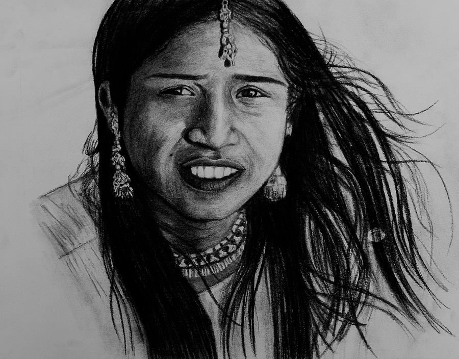 Indian Girl Drawing
