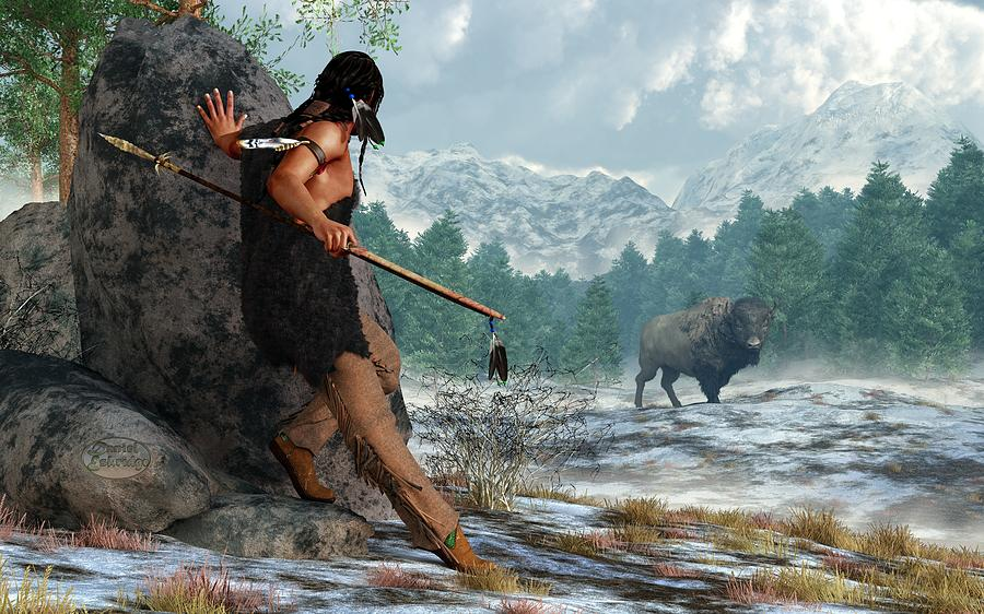 Indian Hunting With Atlatl Digital Art  - Indian Hunting With Atlatl Fine Art Print