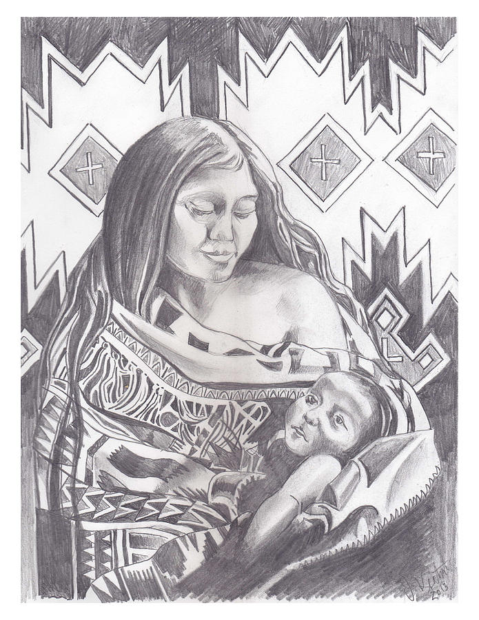 Indian Mother And Child Drawing