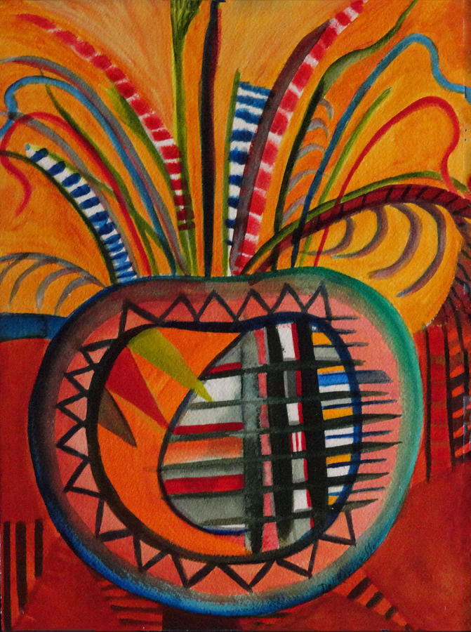 Indian Pot With Feathers Painting