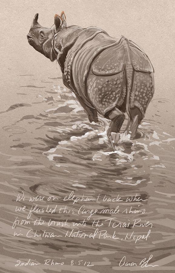 Indian Rhino Digital Art
