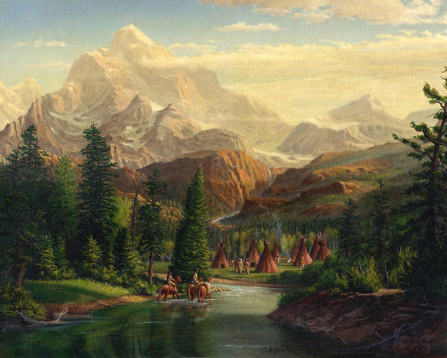 Indian Village Trapper Western Mountain Landscape Oil