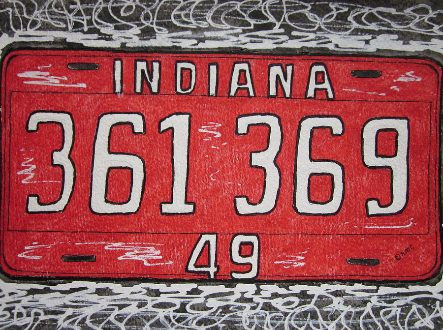 Indiana Painting - Indiana 1949 License Platee by Kathy Marrs Chandler