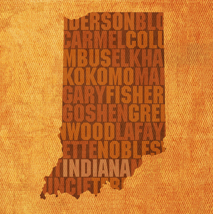 Indiana State Word Art On Canvas Mixed Media