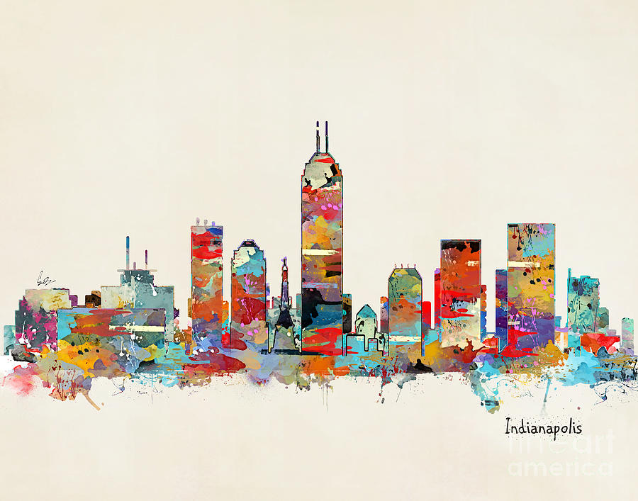 Indianapolis indiana skyline painting by bri b for Indianapolis painting company