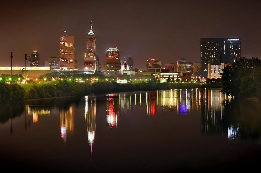Indianapolis Skyline At Night Indy Downtown Color Panorama Photograph  - Indianapolis Skyline At Night Indy Downtown Color Panorama Fine Art Print