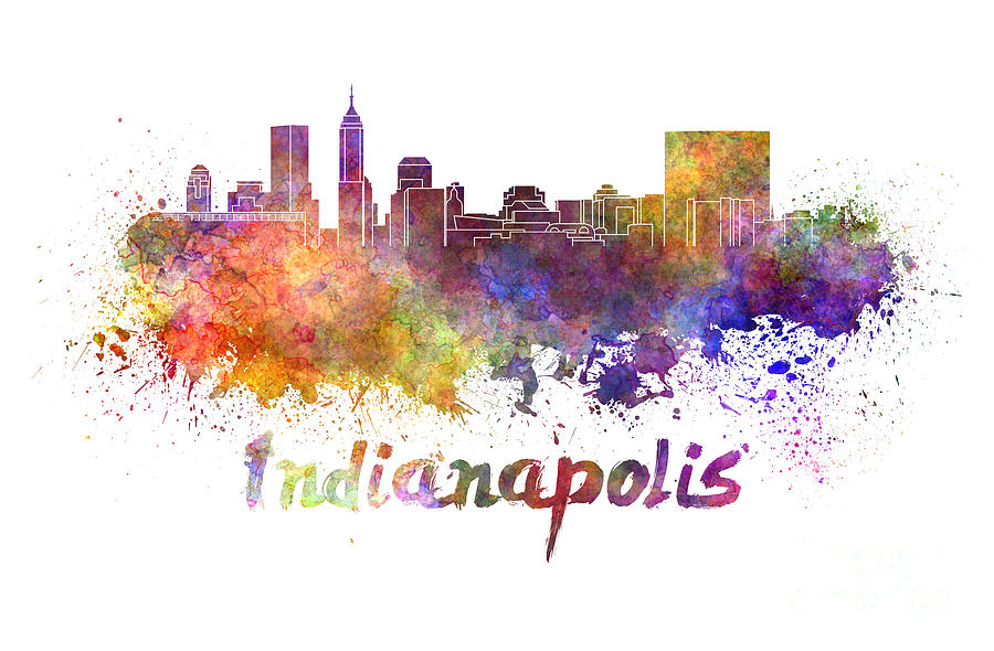 Indianapolis skyline in watercolor painting by pablo romero for Indianapolis painting company