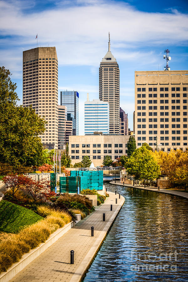 Indianapolis Skyline Picture Of Canal Walk In Autumn Photograph  - Indianapolis Skyline Picture Of Canal Walk In Autumn Fine Art Print