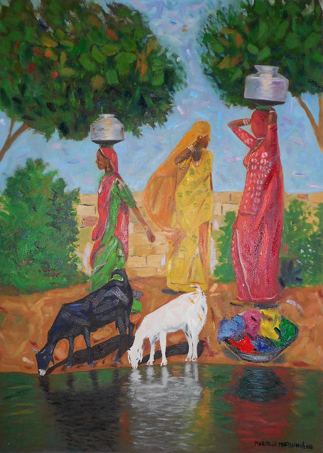 Indians On The Desert Thar Painting