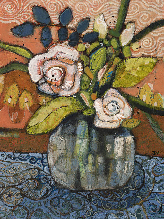 Indigo And Orange Floral Painting