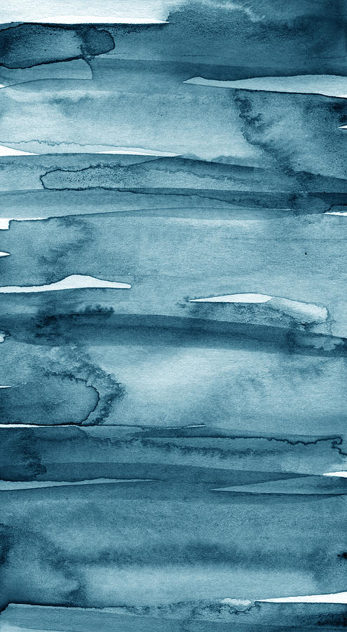 Blue Abstract Painting - Indigo Water- Abstract Painting by Linda Woods
