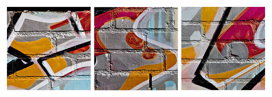 Brick Photograph - Industrial Graffiti by Art Block Collections