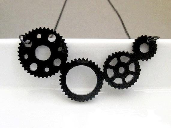 Industrial Steampunk Gear Necklace Jewelry
