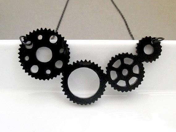 Industrial Steampunk Gear Necklace Jewelry