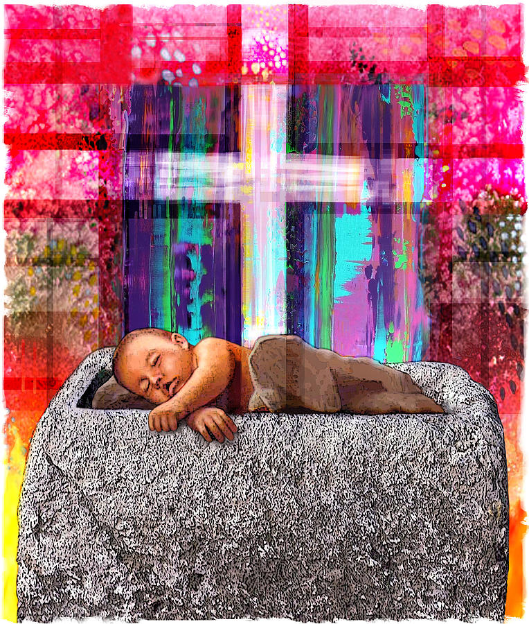 Infant Jesus In A Manger Digital Art
