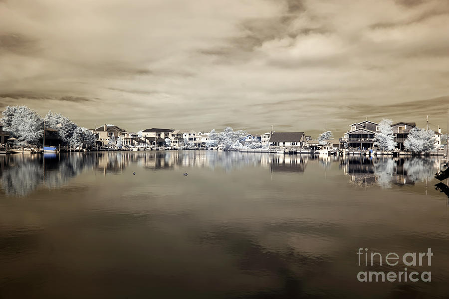 Infrared Beach Houses On The Water Photograph