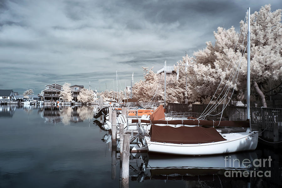 Infrared Boats At Lbi Blue Photograph  - Infrared Boats At Lbi Blue Fine Art Print