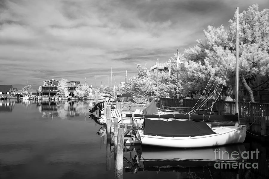 Infrared Boats At Lbi Bw Photograph  - Infrared Boats At Lbi Bw Fine Art Print