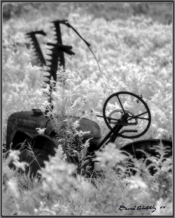 Infrared Bw Old Farm Tractor 8  Photograph